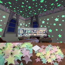 100 Wall Glow In The Dark Stars Stickers Kids Bedroom Nursery Room Ceiling Decor