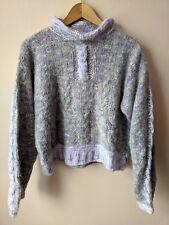 90s vintage lilac & grey mohair blend funnel neck jumper 14-16