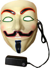 LIGHT Up Multicolore Neon a Led V PER VENDETTA maschera Halloween Fancy Dress Rimozione