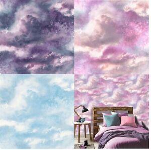 Arthouse Diamond Galaxy Cloud Wallpaper Glitter Effect Purple/Blush Blue, Purple