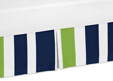 Navy Blue and Lime Green Baby Crib Skirt Dust Ruffle for Jojo Stripe Bedding Set