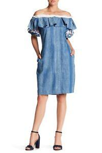 TOV Women's Off The Shoulder Lightweight Denim Summer Dress Blue Size 38 / S