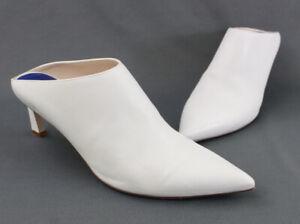 Stuart Weitzman Women's White Leather Pointed Toe Mule Heel Shoe Size 9