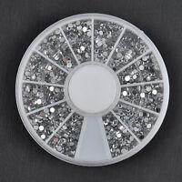 1.5mm 2400PCS Nail Art Rhinestones Glitter Diamond Gems 3D Tips Decoration Wheel