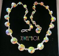 Vintage SPARKLING AURORA BOREALIS AB AUSTRIAN CRYSTAL OPEN BACK RIVIERE NECKLACE