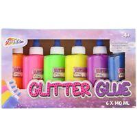 Glitzer Bastel Kleber 6 x 140 ml, 6 Farben Glitter Glue Glitzerleim, für Schleim