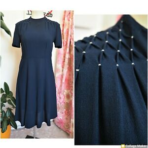 Original Vintage 40s Navy Blue Pin Tuck Detail Midi Tea Dress Size 14
