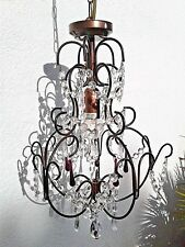 VINTAGE  METAL CHANDELIER CEILING LIGHT PENDANT with CRYSTALS