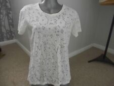 BNWT WHITE  FLORAL  LACE TYPE T SHIRT TOP BLOUSE SIZE 8 GREAT BEACH  HOLIDAY