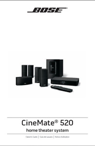 Bose CineMate 520 Home Theater System Owners Guide Manual Instructions