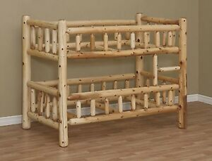 LOG BUNK BED, FULL SIZE BED, BEDROOM FURNITURE, RUSTIC BED, CEDAR LOG FURNITURE