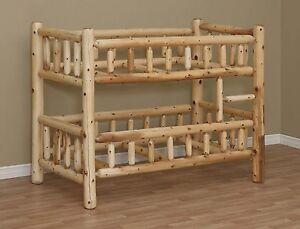 LOG BUNK BED, TWIN BED, LOG FURNITURE, BEDROOM FURNITURE, CEDAR LOG, RUSTIC BED