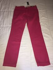Abercrombie & Fitch Skinny Chinos Mens W 32 L 34 Nwt New York Pink Fusia Red