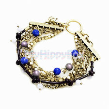 Lucky Brand Layers Gold Tone Chain Lapis Multi Stone Bead Leather Bracelet