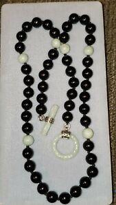 "Antique Republic period Chinese jade bead necklace 20"""