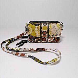 Vera Bradley mini Crossbody brown and green print wallet credit card Preowned