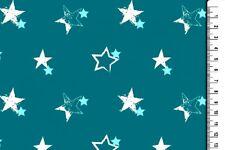 Stoff Jersey Türkis weiß blau Stern Sterne Baumwolle Kinder grün 16€/m