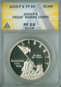 2005-P $1 Marine Corps Silver Dollar ANACS PR69DCAM FREE S/H (2126749)