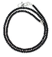 "925 Sterling Silver Black Spinel Gemstone 12-40"" Strand Necklace Round Beads P83"