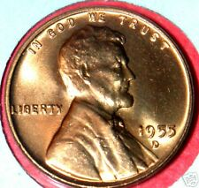 1955-D LINCOLN WHEAT CENT CHOICE RED BRILLIANT UNCIRCULATED