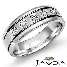 5 Stone Round Diamond Solid Ring 9mm Men Half Wedding Band 18k White Gold 0.25Ct
