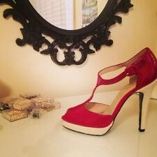 oh...DEER! - Red Patent T-Strap Heels, Size 10
