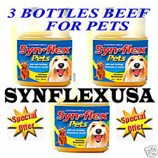 3 BOTTLES BEEF FLAVORED SYNFLEX LIQUID GLUCOSAMINE for PET ARTHRITIS JOINT PAIN