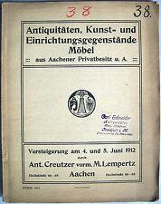 Versteigerung Creutzer Lempertz Aachen / Juni 1912 / seltener Auktionskatalog