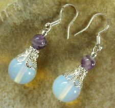 Schicke 12 mm Mondstein Opalit/Glas Ohrringe Earrings & 6 mm Amethyst Edelstein