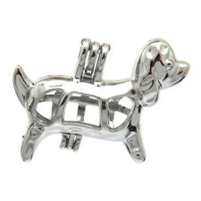 5pcs/lot Silver Alloy Funny Dog Dachshund Locket Pendant Pearl Cage Charms K583