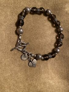 "SILPADA Sterling Silver Beaded Smoky Quartz 7.75 "" Heart Toggle Bracelet B1477"
