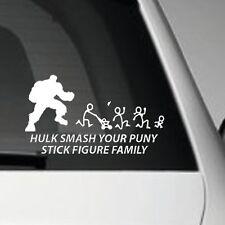 HULK SMASH PUNY STICK FIGURE FAMILY VINYL ADHESIVE CAR DECAL STICKER
