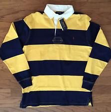 POLO RALPH LAUREN Mens Big & Tall Yellow/Navy Stripe Long Sleeve Rugby Shirt LT