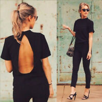 UK Summer Open Back Lady Short Sleeve T Shirt Casual Backless Tee Tops T-Shirt