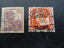 Nederlands Indië langebalkstempel AMBORAWA en AMBOELOE op 2 zegels