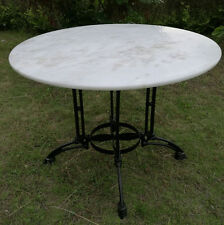 Round 100cm WHITE MARBLE Top Table Seat 6 - Iron Base - DELIVERED* East Coast!!