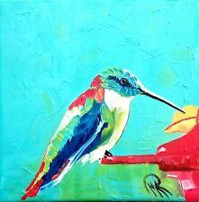MARINA REHRMANN Original Painting, Impressionism, Hummingbird 10 x 10  🧿🧿🧿🧿