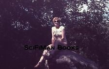 EKTACHROME 35mm Slide Pretty Sexy Woman Large Breasts Sitting On Rock 1978!!!