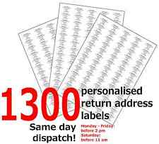 1300 Personalised Self Adhesive Sticky Pre Printed Mini Return Address Labels