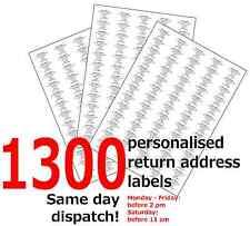 1300 Personalised Self Adhesive Pre Printed Mini Return Address Sticky Labels