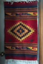 "NEW Zapotec Wool Hand Woven Red Rug Oaxaca 23x45"" Geo Pattern Burning Man"