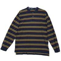 POLO Ralph Lauren Long Sleeve PONY Golf Shirt Mens XL Blue Yellow Green Striped