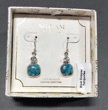 SHIVAM Made in India Sterling Silver Blue Topaz & Copper Turquoise Earrings
