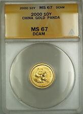 2000 China 10Y Yuan Gold Panda Coin ANACS MS-67 DCAM