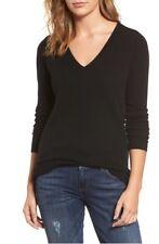 NWOT Halogen V Neck Cashmere Sweater In Black Size XL