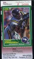 Gary Zimmerman JSA Coa Autograph 1989 Score Hand Signed