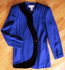 Vintage 90's Casual Corner Lined Jacket Skirt Suit Blue Black Velvet Trim Sz 8