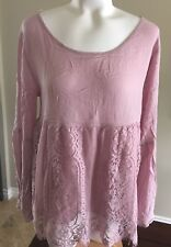 Jolt Womens Top Lace Bottom Strappy Back Long Flouncy Sleeves Large $44