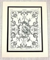 1903 Antique Print Watteau Painting Architectural Painted Ceiling Design Art