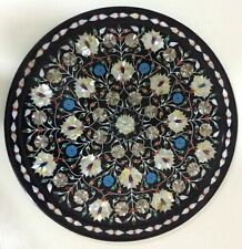 2' Handmade Black Marble dining Inlay Table Top mosaic from India
